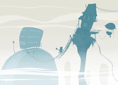 Michael Mantel für die Bilderwumme Illustration Wolkenkuckucksheim Bus Pendler Nebel Morgenstimmung