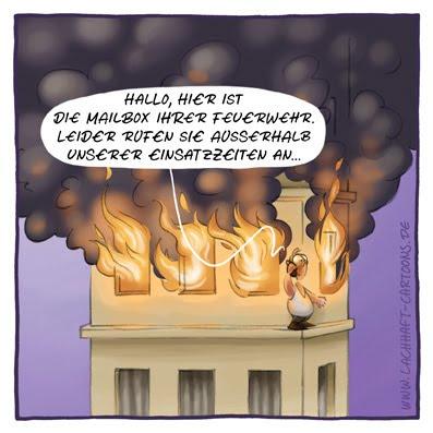 Feuerwehr Notruf 112 Brand Hochhaus Hausbrand brennen lichterloh in Flammen Qualm Rauchwolken Anrufbeantworter Mailbox Telefon Cartoon Cartoons Witze witzig witzige lustige Bildwitze Bilderwitze Comic Zeichnungen lustig Karikatur Karikaturen Illustrationen Michael Mantel lachhaft Spaß Humor