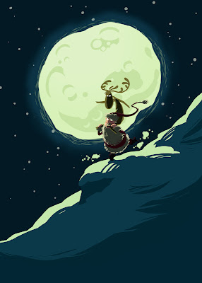 Illustration Weihnachtsmann Weihnachten Santa Claus Rudolph Michal Mantel