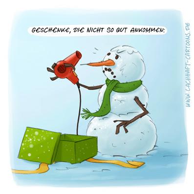 LACHHAFT Cartoon Geschenke die nicht so gut ankommen Haartrockner Fön Schneemann Winter Weihnachten Cartoons Witze witzig witzige lustige Bildwitze Bilderwitze Comic Zeichnungen lustig Karikatur Karikaturen Illustrationen Michael Mantel Spaß Humor