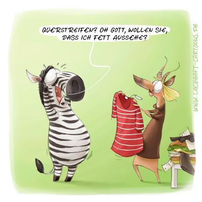 LACHHAFT Cartoon Zebra Shopping einkaufen Shirt Querstreifen Zebrastreifen dick fett aussehen Diät abnehmen Antilope Verkäuferin Klamotten Cartoons Witze witzig witzige lustige Bildwitze Bilderwitze Comic Zeichnungen lustig Karikatur Karikaturen Illustrationen Michael Mantel Spaß Humor