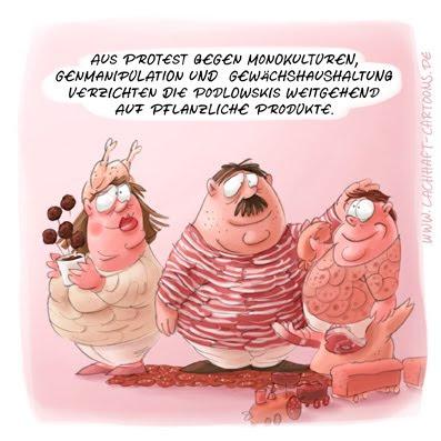 LACHHAFT Cartoon Vegetarier vegan vegetarisch Fleisch Monokultur Genmanipulation Gewächshaus pflanzliche Produkte Familie Podlowski Schinken Wurst Cartoons Witze witzig witzige lustige Bildwitze Bilderwitze Comic Zeichnungen lustig Karikatur Karikaturen Illustrationen Michael Mantel Spaß Humor
