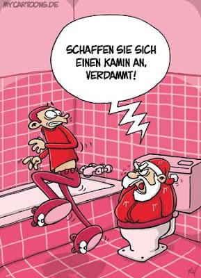 LACHHAFT Adventskalender Cartoon von Ioannis Mil Millionis Weihnachtsmann im Badezimmer Klo Klowitz