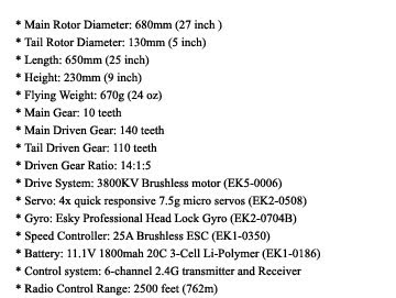 Belt CP X RC helicopter Specs
