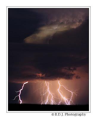 Intense CG lightning from 6/8/09 storm Hamlin, TX.