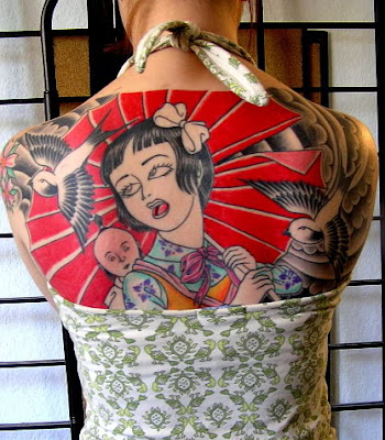foo dog and geisha Japanese tattoo sleeve in black and grey