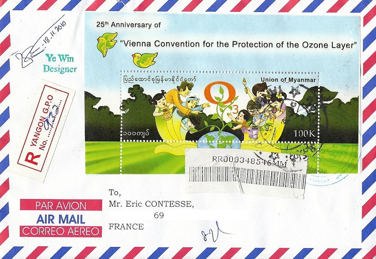 Blog timbr de ma philat lie 1 re lettre du myanmar - Couche d ozone en anglais ...