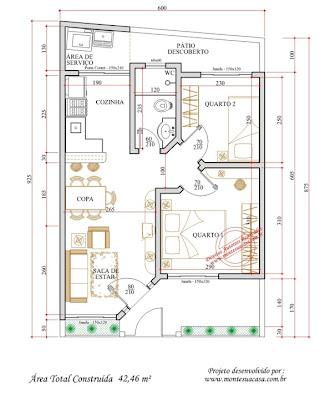 plantas de casas de 2 quartos