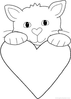gatinho coração para colorir