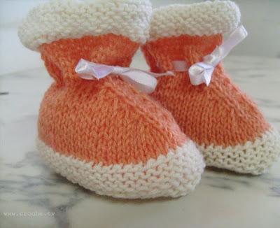 sapatinho de trico bebe