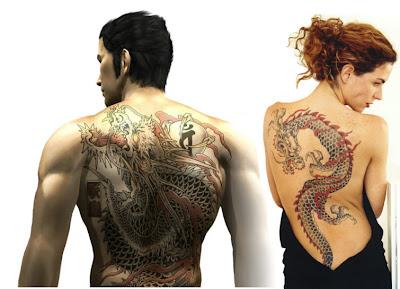 tatuagens de dragão nas costas