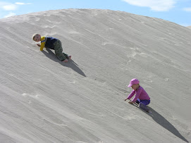 Tyler and Abby climbing the sand dunes