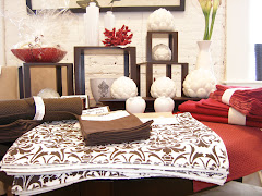 Red and Damask Table Store Display