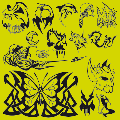 tattoo myspace graphics. A small collection of vector graphic designs for