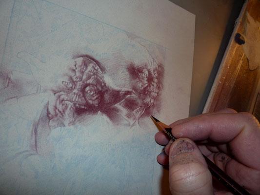 Yoda, Original Drawing By Jeff Lafferty