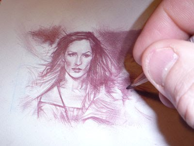 Famke Janssen, Phoenix, Original Sketch Card by Jeff Lafferty