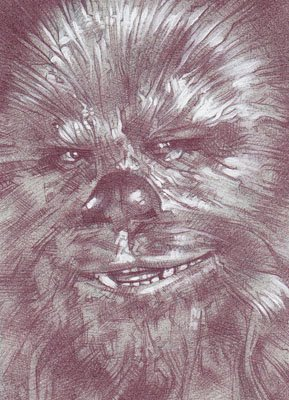 Chewbacca (Pencil study) ACEO Sketch Card by Jeff Lafferty