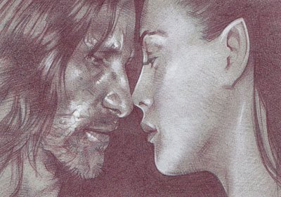Aragorn and Arwen (Pencil study) ACEO Sketch Card by Jeff Lafferty
