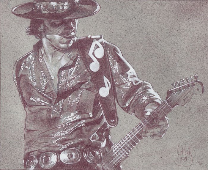 Stevie Ray Vaughn (Pencil study) by Jeff Lafferty