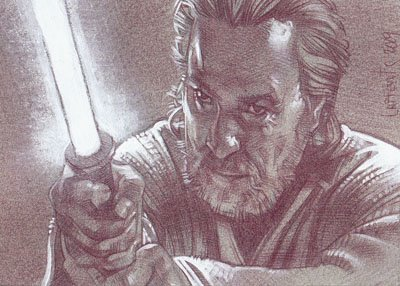 Jedi Master (Pencil study) ACEO Sketch Card by Jeff Lafferty