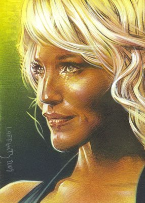 Tricia Helfer ACEO Sketch Card by Jeff Lafferty