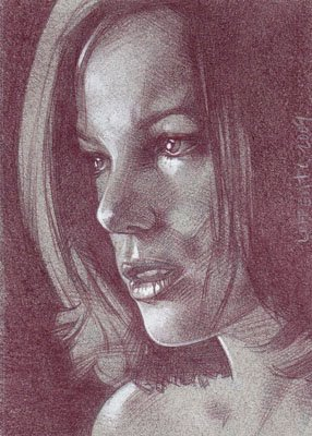 Kate Beckinsale  (Pencil study) ACEO Sketch Card by Jeff Lafferty