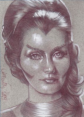 Catherine Schell as Maya  (Pencil study) ACEO Sketch Card by Jeff Lafferty