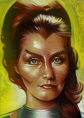Catherine Schell as Maya ACEO Sketch Card by Jeff Lafferty