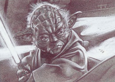 Yoda 2 (Pencil study) ACEO Sketch Card by Jeff Lafferty