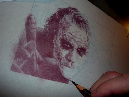 Joker Drawing in progress by Jeff Lafferty