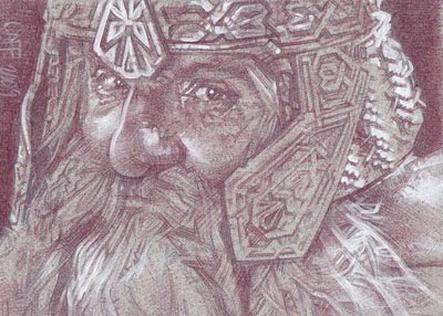 Gimli (Pencil study) ACEO Sketch Card by Jeff Lafferty