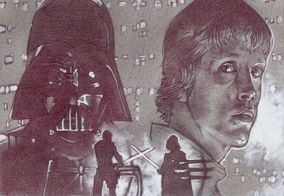 Luke Skywalker and Darth Vader, Original Art by Jeff Lafferty