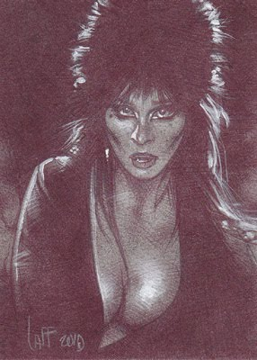 Cassandra Peterson as Elvira Sketch Card by Jeff Lafferty