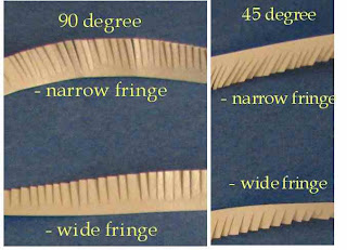 Examples of fringed quilling strips
