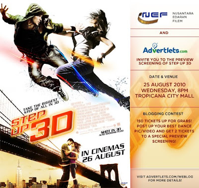 Advertlets Presents Step Up 3D movie screening this 25th August 2010!