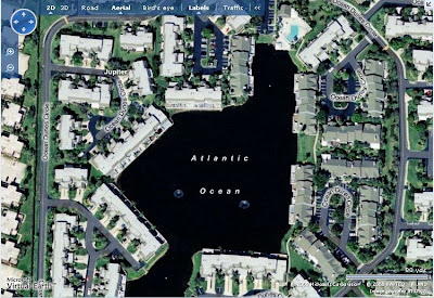 Microsoft Live Search Maps has wrongly named a pond in Jupiter, Forida