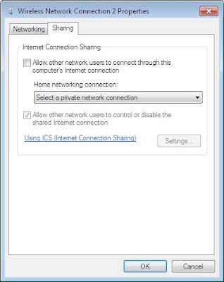 Microsoft Virtual Wi-Fi. Sharing tab. internet sharing option available