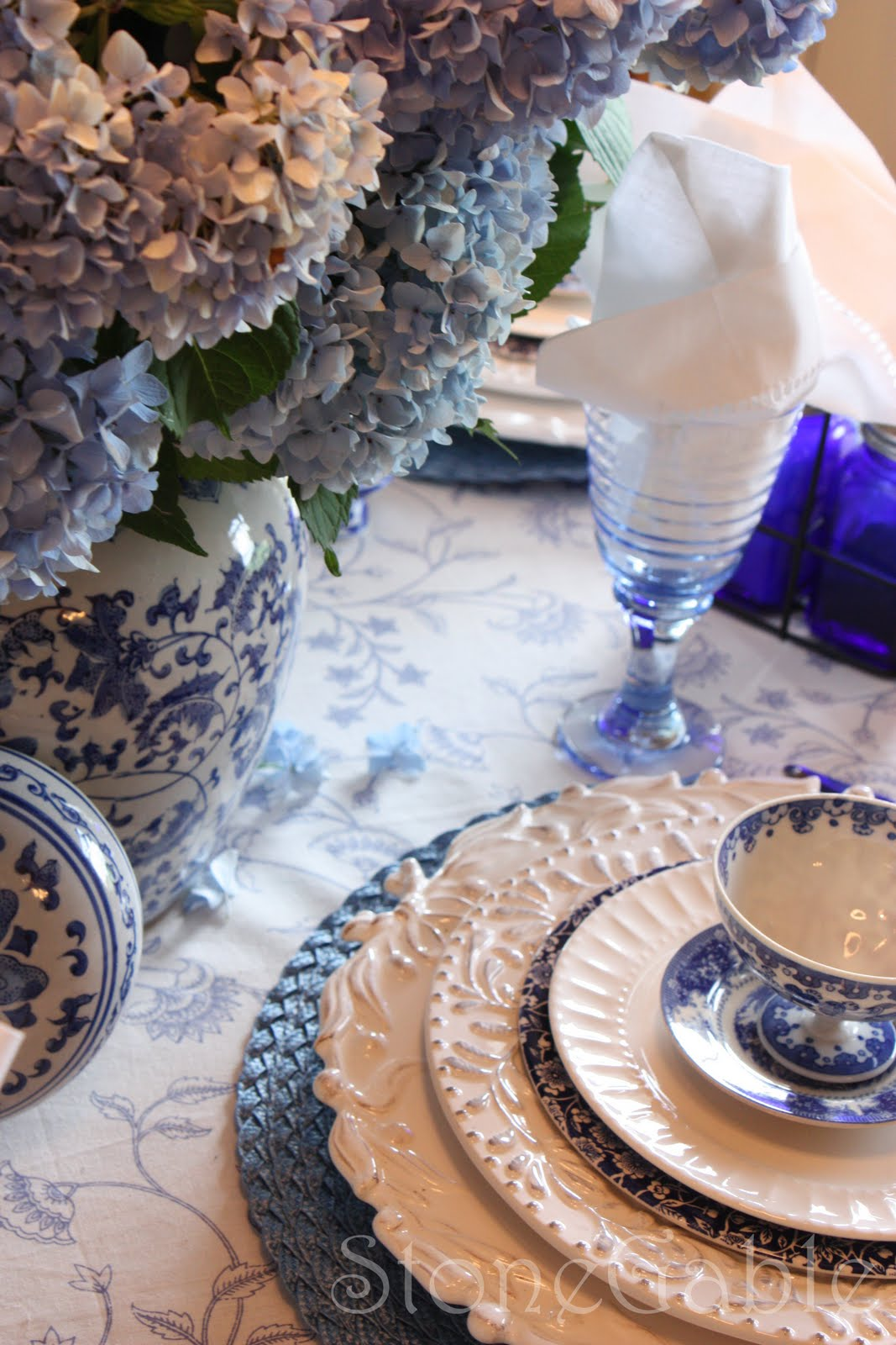 Blue And White Summer Tablescape StoneGable