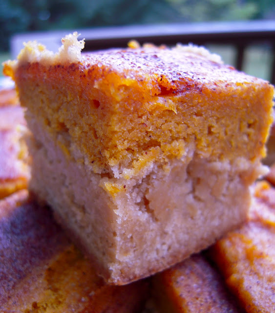 Pumpkin Pie Snickerdoodle Bars - pumpkin pie bars with a yummy snickerdoodle cookie crust. Even pumpkin pie haters LOVE these bars! Perfect for the holidays!