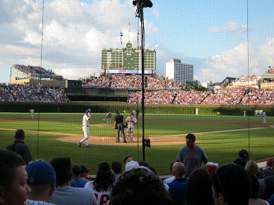 Wrigley Field - Our seats - 7th row behind home plate!  Score!!
