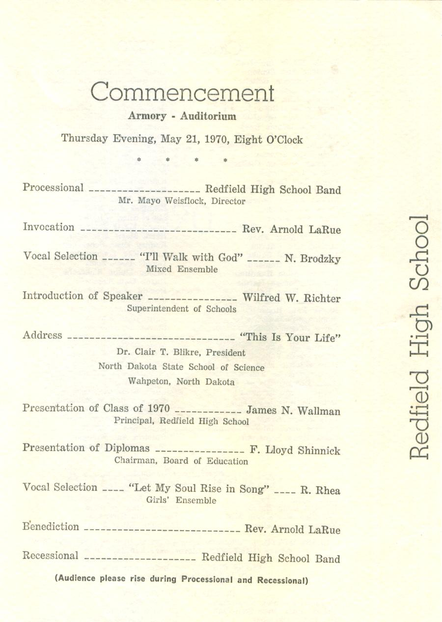Redfield high school class of 1970 40 year reunion for Class reunion program template