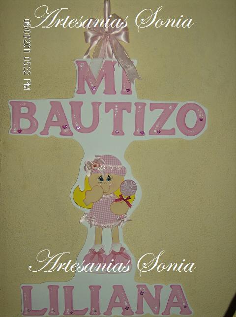 Artesanias Sonia: Centro de Mesa de Bautizo para niña