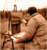 Harold painting on location