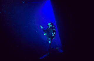 Diver inside a shipwreck