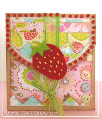 scrapbook, card, gift card, kaart, geschenkenveloppe, geschenk enveloppe, strawberry, aarbei, beads, kralen, felt, vilt, doodlebug, handmade, diy, zelfgemaakt