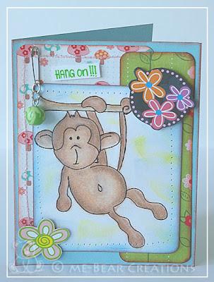 scrapbooking, scrapcard, card, ddcc, challengeblog, kaart, scrapkaart, hang on, monkey, aap, derwent, fimo