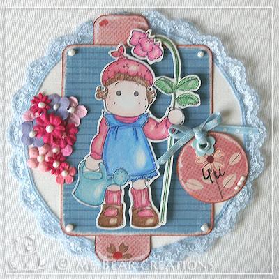 scrapbook, scrapbooking, card, scrapcard, magnolia, magnolia stamp, stamp, funstamp, flower, pink, blue, lace, summer, scrapkaart, stempel, magnolia stempel, tilda, bloem, roze, blauw, kant