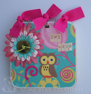 scrapbook, scrappen, altered item, post-it holder, post-it houder, notitieblokje, bia, bind it all, my little shoebox, who's there, owl, uil, swirl, silhouette, quickutz, dt call, bierviltjes, coasters