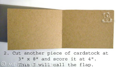2. Cut another piece of cardstock at 3