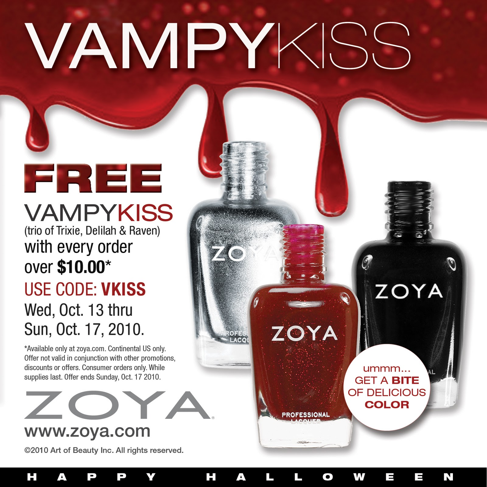 Details: Purchase one mini Color Lock System ($20 for carrying case and 1 - 1oz Zoya Remove Plus; 1 - oz Zoya Anchor Base Coat; 1 - oz Zoya Zoya Armor Top Coat; 1 - oz Zoya Fast Drops Polish Drying Drops) and get one free creme and one free fleck coat and FREE SHIPPING. Choose from Megan or Kristen polish and Maisie Fleck or Chloe Fleck.